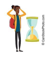 hourglass., inquiété, regarder, africaine, voyageur, homme