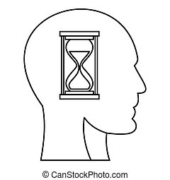 Hourglass inside human head icon, outline style