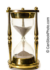 Hourglass Isolated - Gold hourglass isolated on white ...