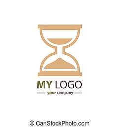 hourglass logo design brown color