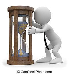 hourglass, man, schouwend