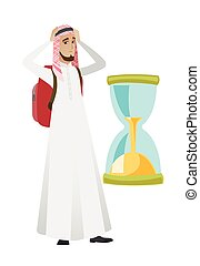 hourglass., musulman, inquiété, regarder, voyageur, homme