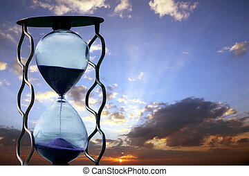 hourglass on the background of sunset
