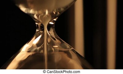 Hourglass - Sand falls quickly through an hourglass.
