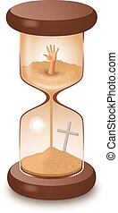 Hourglass sand glass leaking killing time vector illustration