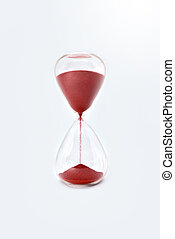 Hourglass sandglass clock isolated on white background. close up view. close up