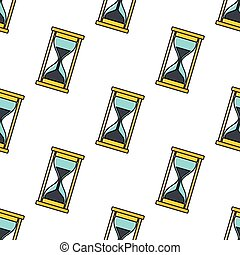 Hourglass seamless pattern in cartoon style isolated on white background vector illustration