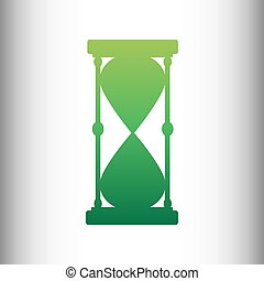 Hourglass sign. Green gradient icon