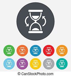 Hourglass sign icon. Sand timer symbol. Round colourful 11...