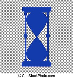 Hourglass sign illustration. Blue icon on transparent background
