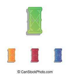 Hourglass sign illustration. Colorfull applique icons set.