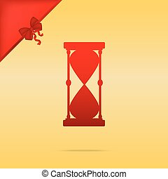 Hourglass sign illustration. Cristmas design red icon on gold background.