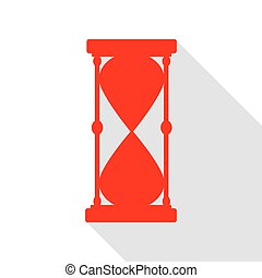 Hourglass sign illustration. Red icon with flat style shadow path.