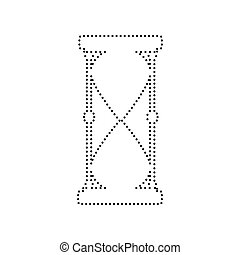 Hourglass sign illustration. Vector. Black dotted icon on white background. Isolated.