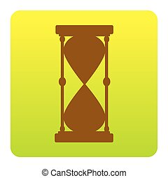 Hourglass sign illustration. Vector. Brown icon at green-yellow gradient square with rounded corners on white background. Isolated.