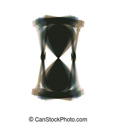 Hourglass sign illustration. Vector. Colorful icon shaked with vertical axis at white background. Isolated.