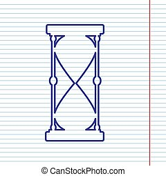 Hourglass sign illustration. Vector. Navy line icon on notebook paper as background with red line for field.