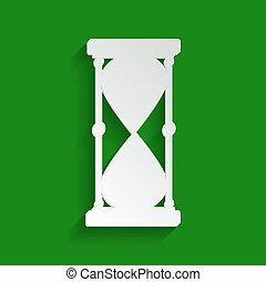 Hourglass sign illustration. Vector. Paper whitish icon with soft shadow on green background.