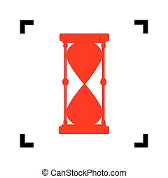 Hourglass sign illustration. Vector. Red icon inside black focus corners on white background. Isolated.