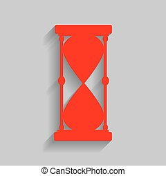 Hourglass sign illustration. Vector. Red icon with soft shadow on gray background.
