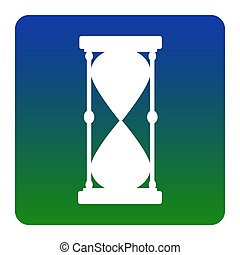 Hourglass sign illustration. Vector. White icon at green-blue gradient square with rounded corners on white background. Isolated.