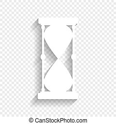 Hourglass sign illustration. Vector. White icon with soft shadow on transparent background.