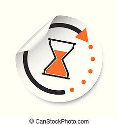 Hourglass sticker label. Time vector illustration.