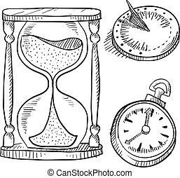 Hourglass, sundial and stopwatch - Doodle style hourglass,...
