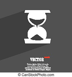 hourglass symbol Flat modern web design with long shadow and space for your text. Vector