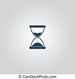 Hourglass time. Flat web icon or sign isolated on grey background. Collection modern trend concept design style vector illustration symbol