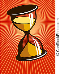 Hourglass with sand running through it on background of...