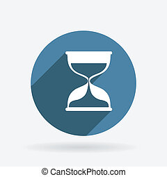 hourglass waiting. Circle blue icon with shadow.