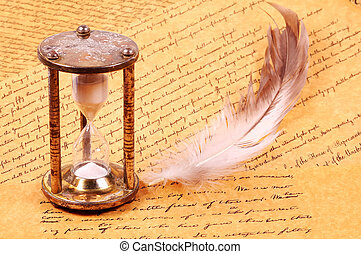 Parchments - Hourglass with a feather and Parchments