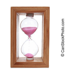 hourglass with a pink sand - wooden hourglass with a pink...