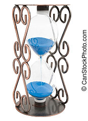 Hourglass with blue sand in a metal frame isolated