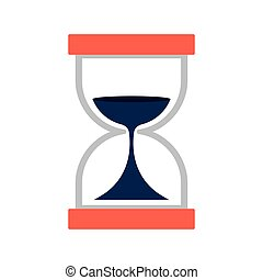 Hourglass with dark blue sand flat icon