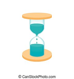 Hourglass with dripping water icon, cartoon style