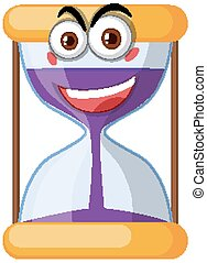 Hourglass with face expression on white background