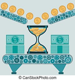 Hourglass with gold coins and dollar bills on the machine. Time is money. The manufacture of money. A Deposit in the Bank.
