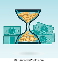 Hourglass with gold coins and dollar bills. Time is money. A Deposit in the Bank.