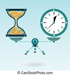 Hourglass with gold coins and watches, clock on the scales in balance. Time is money. A Deposit in the Bank.