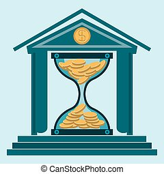 Hourglass with gold coins in the Bank building. Time is money. A Deposit in the Bank. Money is working. Protection of money