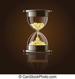 Hourglass with gold coins over dark background.