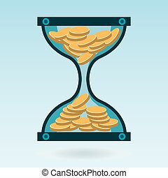 Hourglass with gold coins. Time is money. A Deposit in the Bank. Money is working.