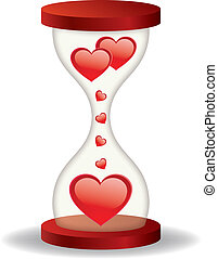 Hourglass with hearts
