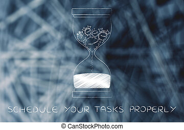 hourglass with melting clocks & stopwatches, schedule tasks...