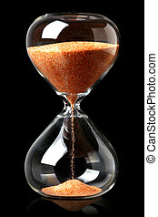 Hourglass with red sand showing the passage of time
