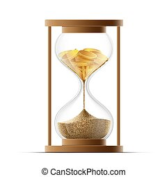 Hourglass with sand and gold coins. Bankruptcy and devaluation.