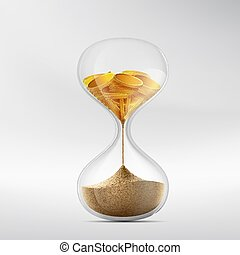 Hourglass with sand and gold coins. Stock vector.