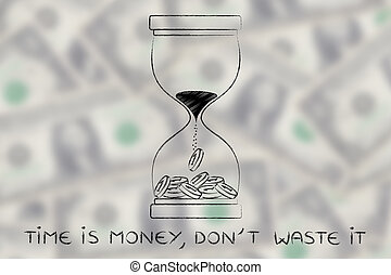 hourglass with sand turning into coins, time is money don't waste it
